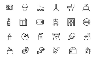 Hotel and Restaurant Line Icons 3