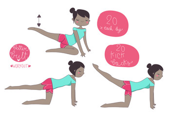 esercizi ginnastica sedere, ragazza cartoon di colore