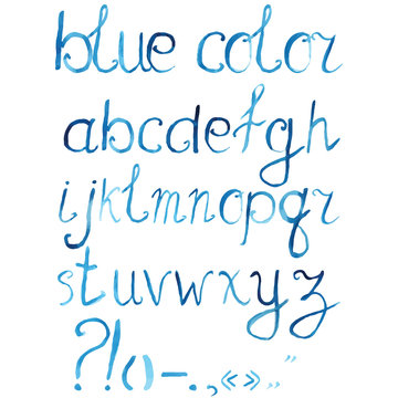 Hand drawn watercolor artistic font, alphabet with punctuation marks