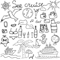 Hand drawn sketch sea cruise doodles vector illustration of Travel and summer elements, isolated