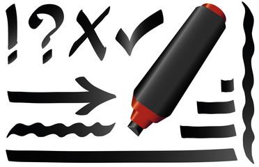 Black Marker Pen Black Strokes Symbols