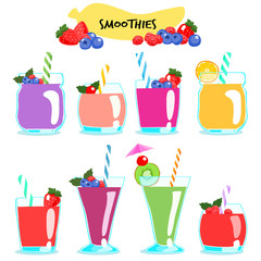 many kind of healthy and delicious smoothies vector