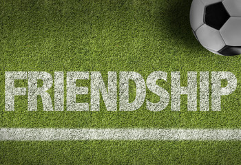 Soccer field with the text: Friendship