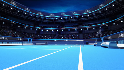 blue tennis court from the perspective of the player