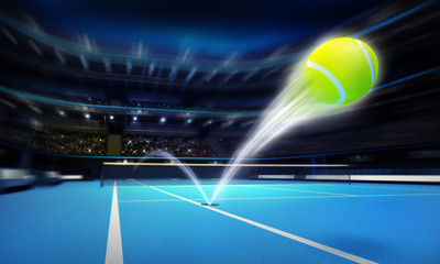 tennis ball ace strike on a blue court in motion blur