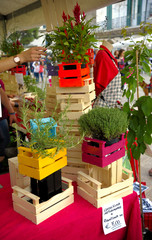 lot of colored wooden boxes for sale at the market