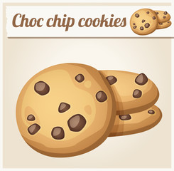 Choc chip cookies. Detailed Vector Icon