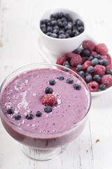 Smoothies of frozen raspberries and  blueberries and with yogur