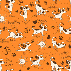 Seamless pattern with dog doing yoga position of Surya Namaskara