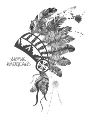 Watercolor American Indian chief headdress.