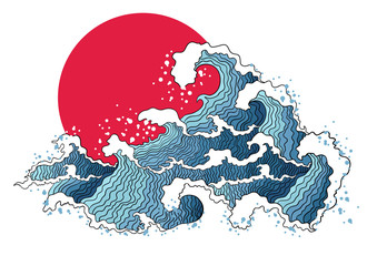 Asian illustration of ocean waves and sun.