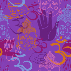 Seamless pattern of Buddha face, om sign and palm.