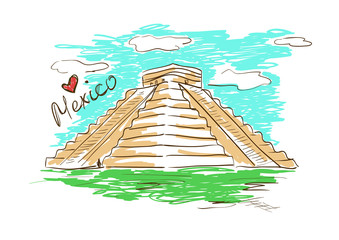 Sketch illustration of Chichen Itza Mayan Pyramid in Mexico