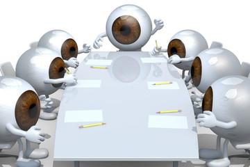 many eyeballs meeting around the table