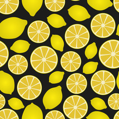 colorful lemon fruits and half fruits seamless pattern eps10