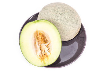 Part of the green japanese melon in isolated