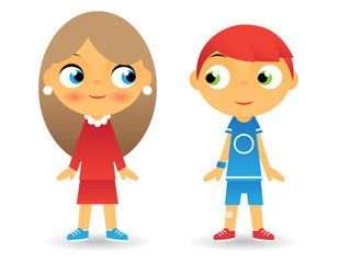 Girl and Boy Cartoon Character Children Icons Isolated Vector
