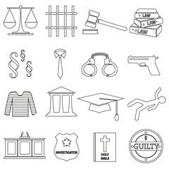 justice and law black outline icons set eps10