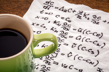 mathematical equations on napkin
