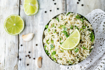 cilantro lime garlic brown rice