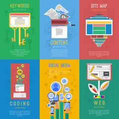 Seo flat icons composition  poster
