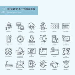 Thin line icons set. Icons for business, technology.