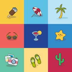 Collection of Summer Icons in Flat Design