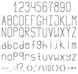 Black and white studded font. Full set with numbers and punctuation.