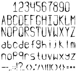 Black and white font. Full set with numbers and punctuation.