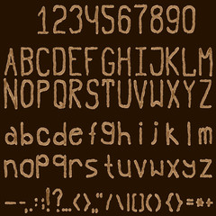 Watercolor coffee color font on a dark background