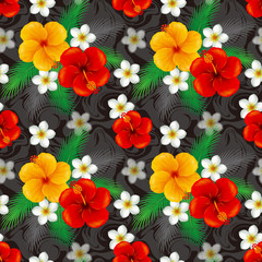 Wallpaper of hibiscus. Illustration./The seamless pattern