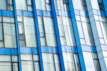 Modern office architectur at blue glass wall backgrounds