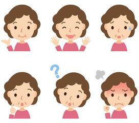 中年女性 表情ポーズ セット