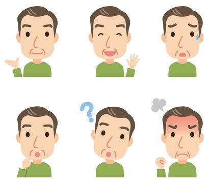 中年男性 表情ポーズ セット