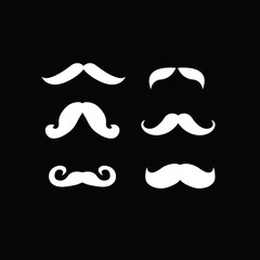 set of white mustaches