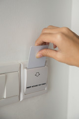Key Card to activating the electricity in a room hotel