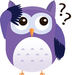 Perplexed cute vector purple owl with question marks