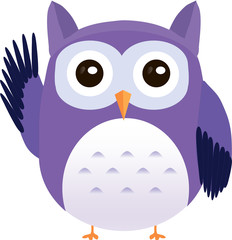 Cute vector purple owl greeting waving wing