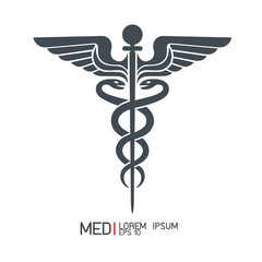 Caduceus sign ,Medical icons isolated