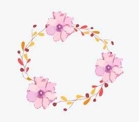 Watercolor flowers frame template