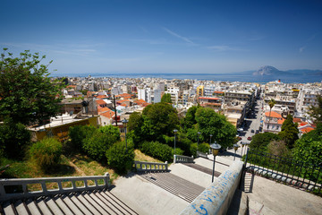 View of the city centre of Patras from castle hill, Greece.
