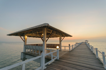Wooden pier in the nice sunset.