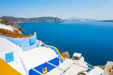 White-blue architecture on Santorini island, Greece