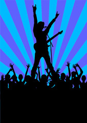 Rock star with guitar and fans silhouettes
