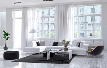Modern living room with white and black decor