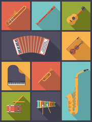 Musical Instruments Icons Vector Illustration