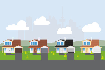 Suburban Street Vector Illustration