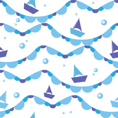 Vector seamless pattern of sea waves and boats