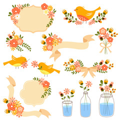 collection of vintage style floral decorations