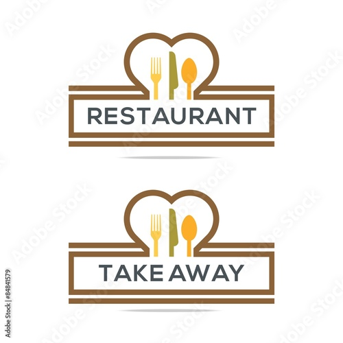 """Besteck Love Kitchen Set Utensils Restaurant Logo"" Stock"